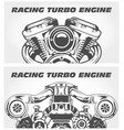 turbocharging racing engine and motorcycle motor vector image
