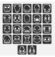 white skulls cartoon set vector image