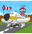 Funny Airplane on Airstrip and Control Tower vector image