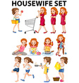 Housewife doing different activities vector image vector image