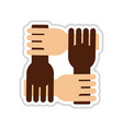 paper sticker on white background hands vector image