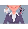 Angel and devil on the woman shoulders vector image