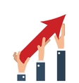 business people hands with arrow up growth vector image