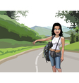 cartoon woman tourist hitchhiking on the road vector image