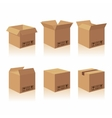 Closed and open recycle brown carton delivery vector image