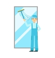 Man With Squeegee Washing Window Cleaning Service vector image