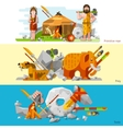 Prehistoric Stone Age Caveman Banners vector image