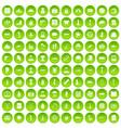 100 war icons set green circle vector image