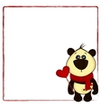 background for postcard with panda and heart vector image