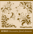 set of hand drawn decorative floral vector image