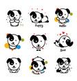 cute puppy logo set favorite pet logotype vector image