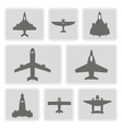 monochrome icons with different airplanes vector image