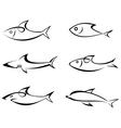fish outlines vector image vector image