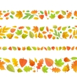 Four seamless borders made from cute autumn leaves vector image