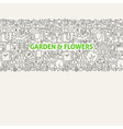 Garden Line Art Seamless Web Banner vector image
