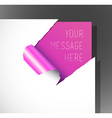 Teared paper with text in the corner vector image vector image