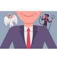 Angel and devil on the man shoulders vector image