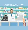 hand holding a prescription rx form vector image