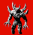 horned monster with spikes stands ready to attack vector image