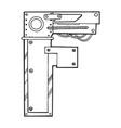mechanical letter f engraving vector image