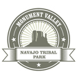 Monument Valley stamp - Navajo Tribal Park embelm vector image