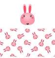 Rabbit Head Icon And Pattern vector image