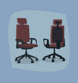 set of isolated office chairs in different angles vector image