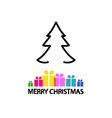 Christmas Card Outline Tree and Colorful Gift vector image