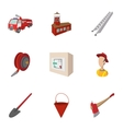 Fiery profession icons set cartoon style vector image