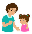 father scolds his daughter cartoon character vector image