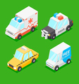 Cartoon Isometric Cars vector image vector image