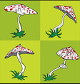 Cartoon poisonous amanita mushroom with red dots vector image