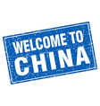China blue square grunge welcome to stamp vector image