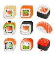 colorful realistic japanese food icons set with vector image
