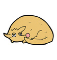 comic cartoon curled up dog vector image