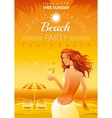 Evening beach background with beautiful elegant vector image