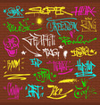 graffity grunge color font text phrases on wall vector image