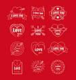 love labels badge thin line set for valentines day vector image