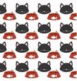 seamless pattern face kitten bowl food vector image