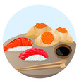 served chinese food dim sum with shrimp and salmon vector image