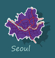 sticker map of seoul with borders of the regions vector image