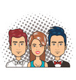 three woman and men portrait pop art comic style vector image