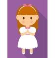 girl kid cartoon white dress icon graphic vector image