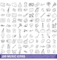 100 music icons set outline style vector image