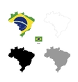 Brazil country black silhouette and with flag on vector image