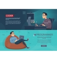 Freelance Workplace Horizontal Banners vector image