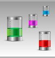 transparent bottles with colorful liquids vector image