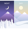 Day and night in winter flat or banners vector image