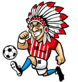 indian chief soccer mascot vector image vector image