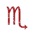 Red grunge Scorpio logo vector image